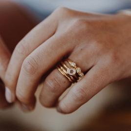 Gold Rose Quartz Baby Stone Ring detailed