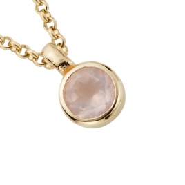 Gold Rose Quartz Baby Treasure Necklace detailed