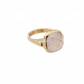 Gold Rose Quartz Crystal Ring