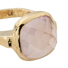 Gold Rose Quartz Crystal Ring detailed