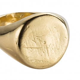 Gold Round Signet Ring detailed