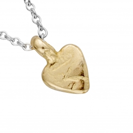 Silver & Gold Baby Heart Necklace detailed