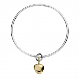 Silver & Gold Maxi Grateful Heart Bangle