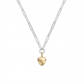 Silver & Gold Grateful Heart Trace Chain Necklace