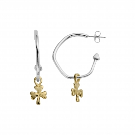 Maxi Cupid Hoops With Gold Baby Shamrock Charms detailed