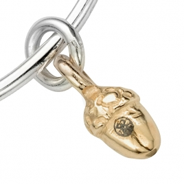 Silver & Gold Medium Bowness Acorn Bangle detailed