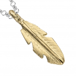 Silver & Gold Medium Feather Necklace detailed