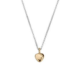 Silver & Gold Midi Grateful Heart Necklace