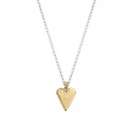 Silver & Gold Midi Heart Necklace