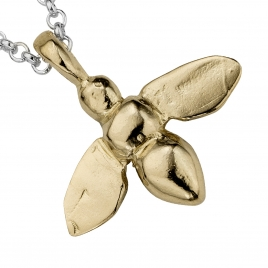 Silver & Gold Large Honey Bee Necklace detailed