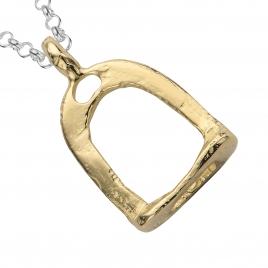 Silver & Gold Medium Stirrup Necklace detailed