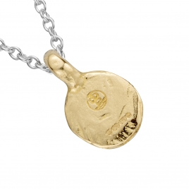 Silver & Gold Mini Disc Necklace detailed