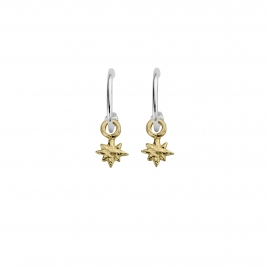 Mini Cupid Hoops With Gold Baby North Star Charms