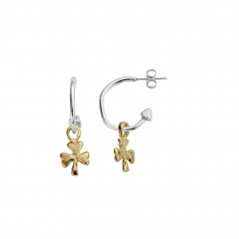 Mini Cupid Hoops With Gold Baby Shamrock Charms detailed