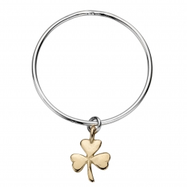 Silver & Gold Large Shamrock Bangle