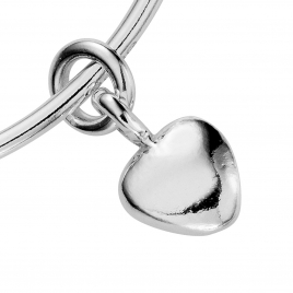 Silver Maxi Grateful Heart Bangle detailed