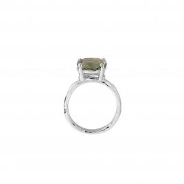Silver Green Quartz Claw Ring detailed