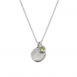 Silver Green Quartz Moon & Stone Necklace