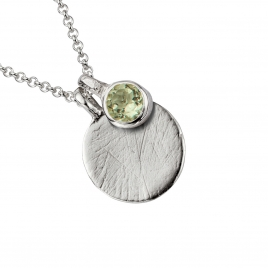 Silver Green Quartz Moon & Stone Necklace detailed