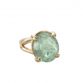 KAIHOLO Gold Oval Aquamarine Claw Ring