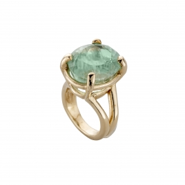 KAIHOLO Gold Oval Aquamarine Claw Ring detailed