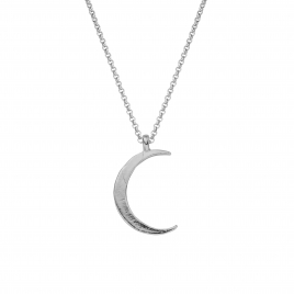 Silver Large Crescent Moon Necklace