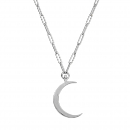 Silver Large Crescent Moon Trace Chain Necklace