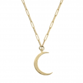 Gold Large Crescent Moon Trace Chain Necklace