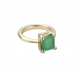 LAUREL Gold Emerald Claw Ring