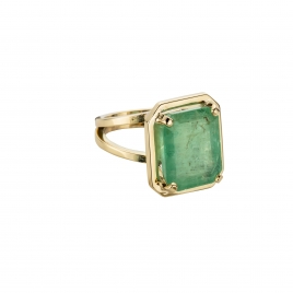 MAUNA LOA Large Gold Emerald Ring