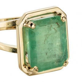 MAUNA LOA Large Gold Emerald Ring detailed