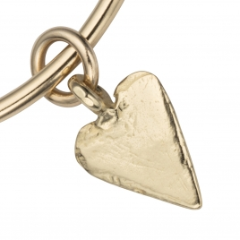Gold Maxi Heart Bangle detailed