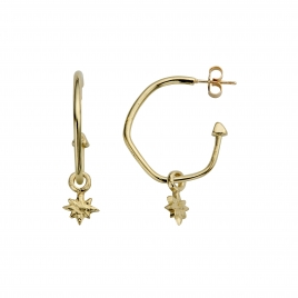 Gold Maxi Cupid Hoops With Baby North Star Charms detailed