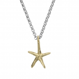 "Silver & Gold 18"" Maxi Starfish Necklace"