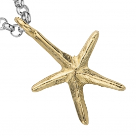 "Silver & Gold 18"" Maxi Starfish Necklace detailed"