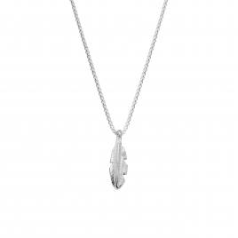 Silver Medium Feather Snake Chain Necklace detailed