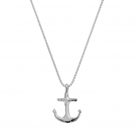 Silver Midi Anchor Snake Chain Necklace