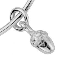 Silver Medium Bowness Acorn Bangle detailed