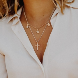 Silver & Gold Medium Cross Necklace detailed