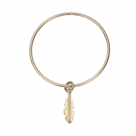 Gold Medium Feather Bangle