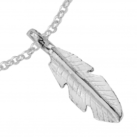 Silver Medium Feather Chain Bracelet detailed