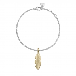 Silver & Gold Medium Feather Chain Bracelet
