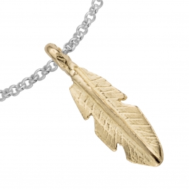 Silver & Gold Medium Feather Chain Bracelet detailed
