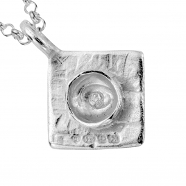 Silver Medium Graduation Cap Necklace detailed