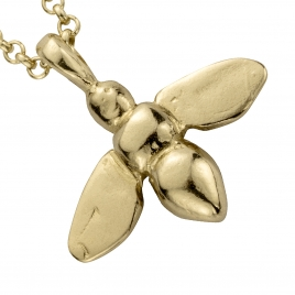 Gold Large Honey Bee Necklace detailed