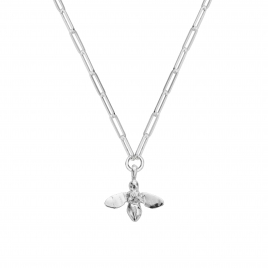 Silver Large Honey Bee Trace Chain Necklace