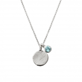 Silver Moon & Stone Blue Topaz Necklace