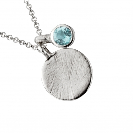 Silver Moon & Stone Blue Topaz Necklace detailed