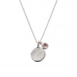 Silver Moon & Stone Rose Quartz Necklace