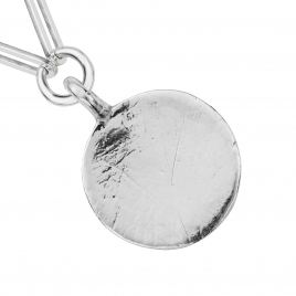 Silver Large Moon Trace Chain Necklace detailed